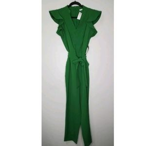 NEW New York & Co S Green Ruffle Sleeve Jumpsuit